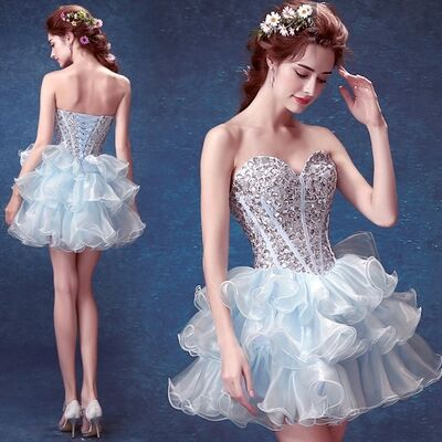 Romantic Blue Gemstone Decorated Skinny Sweetheart   Cocktail     Dress  /Party   Dress   B260