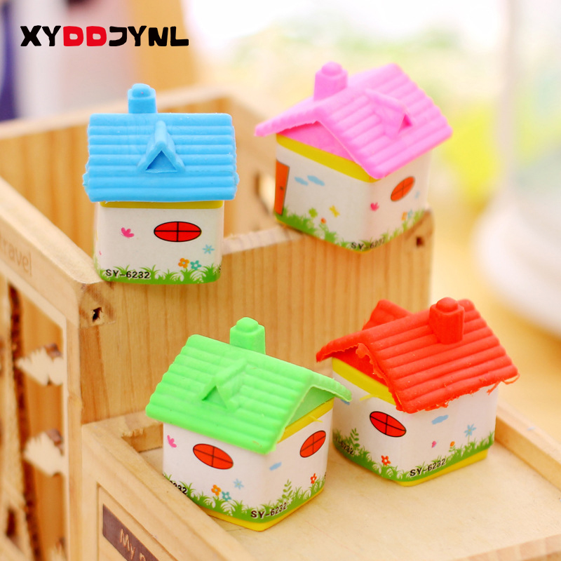 1 X Novelty Removable Rubber Small House Rubber Eraser Kawaii Creative Stationery School Supplies Papelaria Gifts For Kids