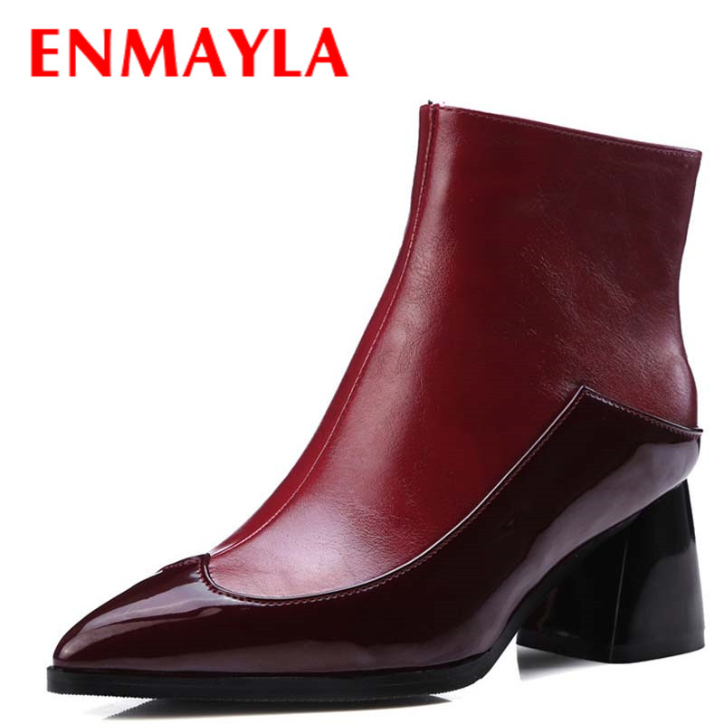 ENMAYLA White Shoes Zippers High Heels Large Size 34-43 Winter Boots  Pointed Toe Shoes Woman Sexy Red Ankle Boots for Women enmayla ankle boots for women low heels autumn and winter boots shoes woman large size 34 43 round toe motorcycle boots