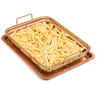 Copper Chef Crisper Tray Fry Pan Chef Basket Easy Clean Kitchen Cooking Crispy Tray Baking Pan