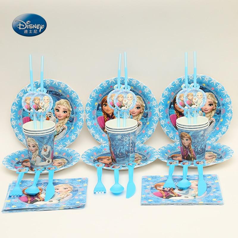 Party Supplies 92pcs For 12 Kids Birthday Party Decoration Set Frozen Freezing Anna Elsa Snow Queen Party Favors