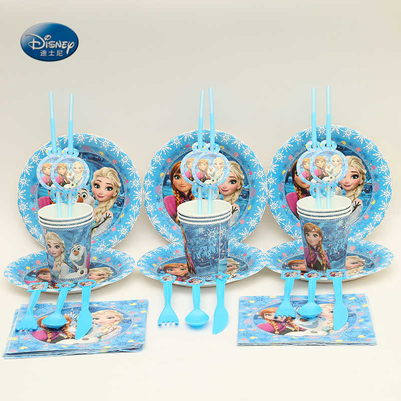 Fontes do partido 92pcs para Congelamento 12 Kids Birthday Party Decoration Set Congelado Anna Elsa Rainha da Neve Favores Do Partido