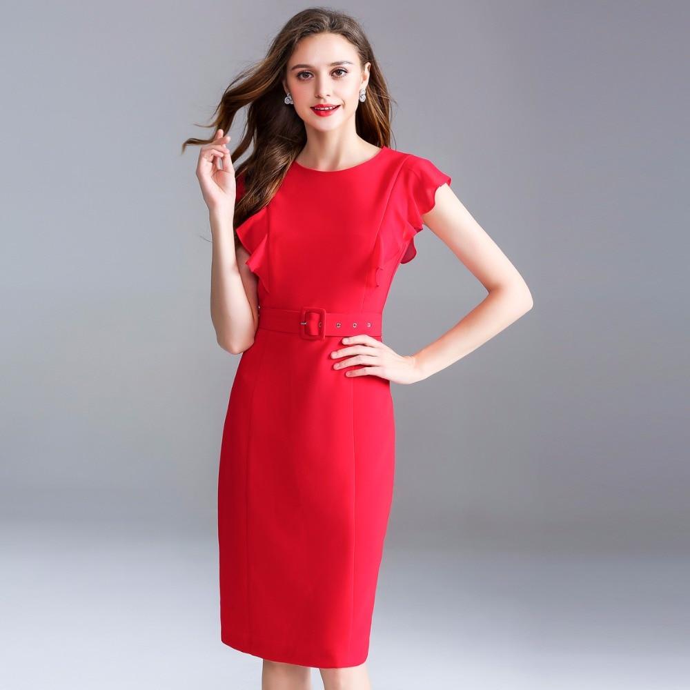 Robes rouge Livraison Haute D'o Noir Noir Dames Vêtements Gratuite Qualité De Été Neuf Crayon Parti Femmes Printemps Robe Rouge 2018 Travail cou Pxzwqg1S