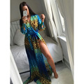 2016 Women Leopard Summer Blue Beach Dress Long Sleeve V Neck Sexy Split Maxi Dresses Bohemian Floor Length Dress Vestido Fiesta