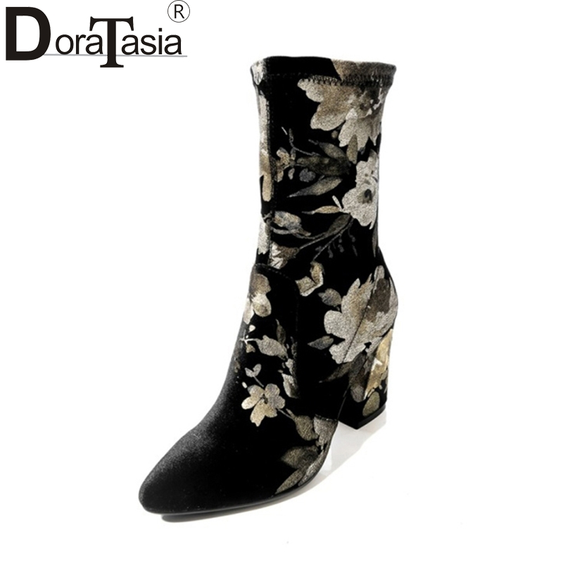 DoraTasia 2017 Brand Design Large Size 33-43 Pleuche Printing Woman Shoes Women Fashion High Heels Ankle Boots