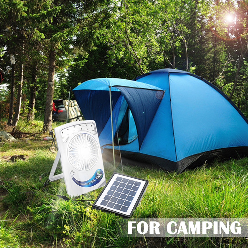 Smuxi Rechargeable Solar Panel Power Fan Vent Cooling Blower For Camping Yard Hiking Lantern Solar Panel LED Lamp Fan