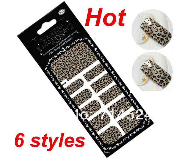 FREE SHIPPING,6 styles, 20sets/lot, 2013 Fashiong Sexy Leopard nail art stickers wraps foil , 3D effect , Retail & Wholesale