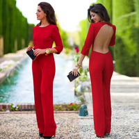 IASKY 2018 Fashion Long Rompers Womens Jumpsuit Round Collar Sexy three quarter sleeve blank sling backless jumpsuit
