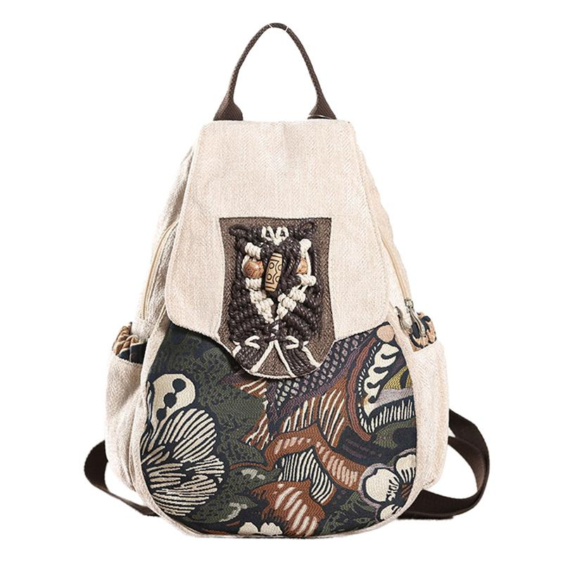 Anti-theft Women Backpack Retro Forest Trees Printed Female School Bookbag For Girls National Style Beads Handmade Lady Bagpack