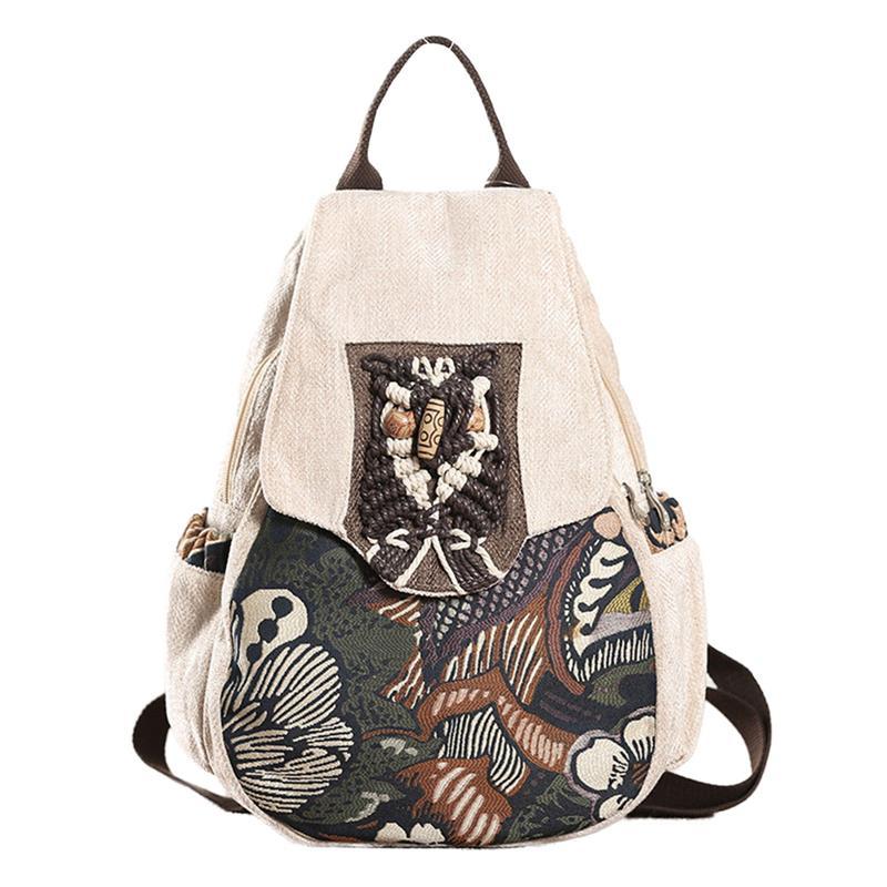 Anti-theft Women Backpack Retro Forest Trees Printed Female School Bookbag For Girls National Style Beads Handmade Lady Bagpack