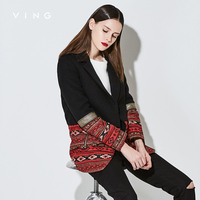 Ving Brand New Women Jacket Vintage Embroidery Pattern Streetwear Autumn Long Sleeve Lapel Blazer Feminino