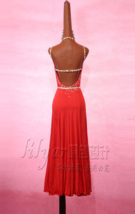 Image 3 - Sparkly Rhinestones Red Latin Dance Dress with Accessories for Women Stage Performance Cha Cha Rumba Samba Practice Clothes Lady