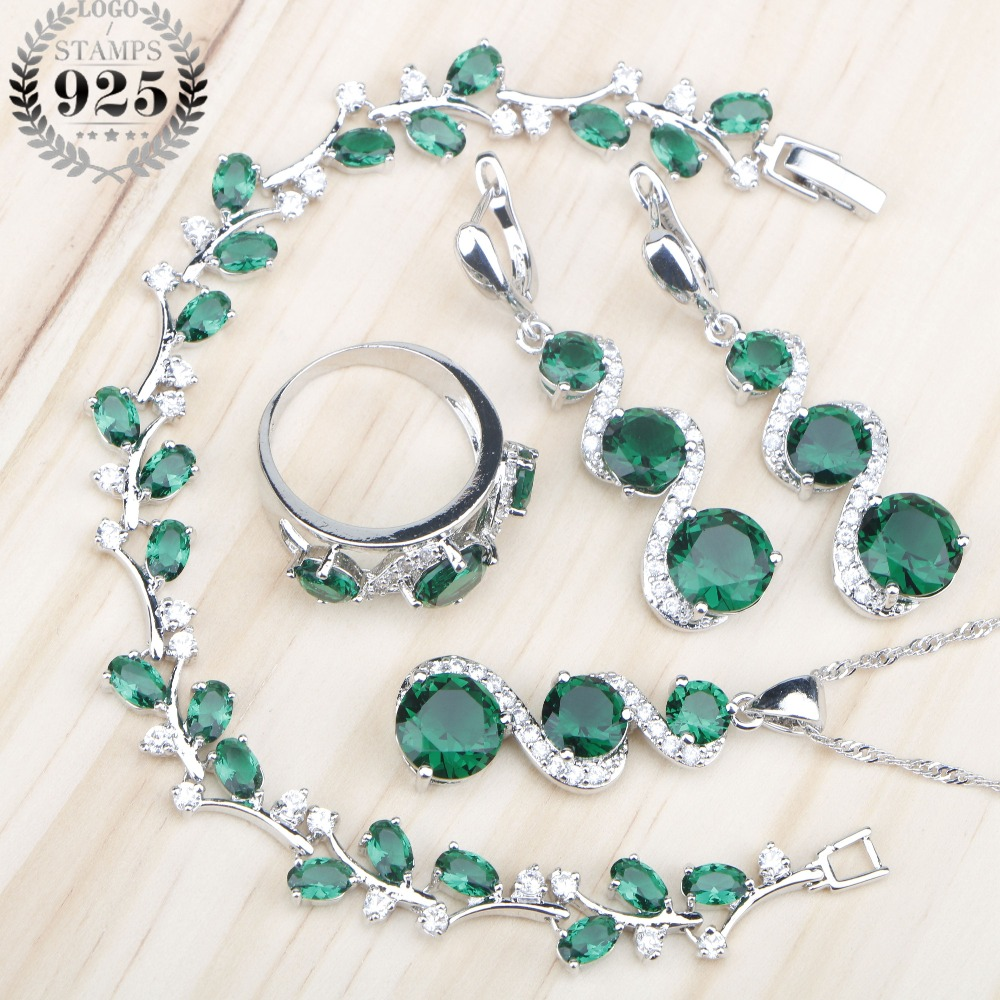 Green Stones White Zircon Women Silver 925 Jewelry Sets Earrings/Pendant/Necklace/Rings/Bracelets For Bridal Set Free Box