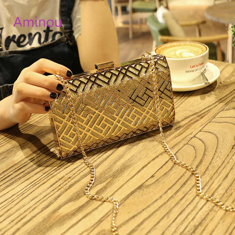 Aminou New Fashion The Chain Women Handbags lady Hollow Out Geometric Wedding Dinner Bags Evening Bags Purses Clutch Box Package vintage solid color geometric hollow out sweater chain for women