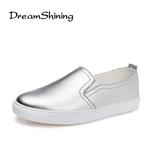 DreamShining High Quality Women Leather Loafers Fashion Casual Flats Shoes Woman Slip On Female Shoes Silver Moccasins Slipony