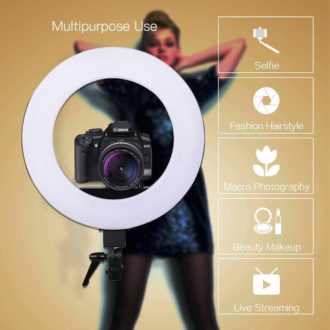 Zomei 18' Dimmable Photographic Lighting Studio Video LED Ring Light 3200-5600K for Smart phone Makeup Live Youtube portrait Multan