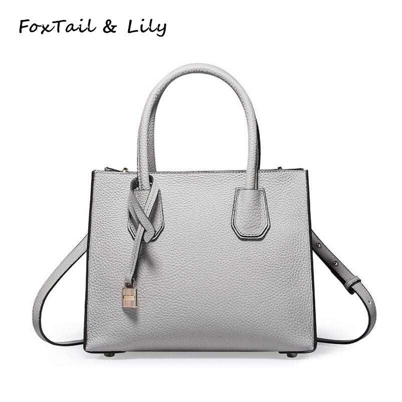 FoxTail & Lily Small Lock Bag Women Genuine Real Leather Handbags Elegant Ladies Luxury Tote Shoulder Bag Fashion Messenger Bags eimore brand genuine leather handbags women small simple tote bag luxury fashion ladies classic pattern leather shoulder bags