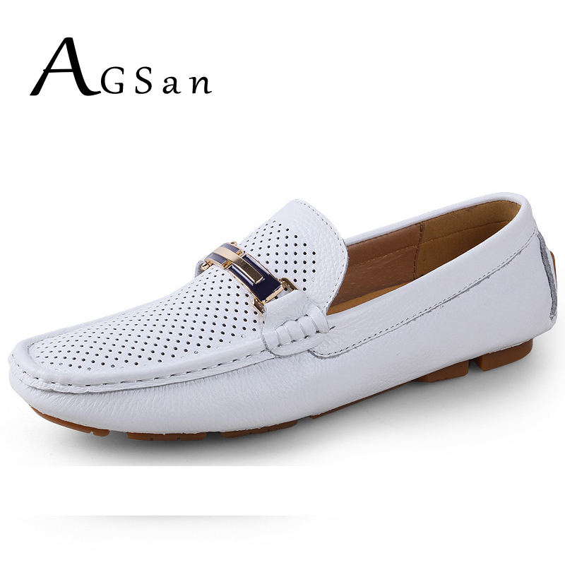 AGSan Summer Breathable Men Driving Shoes Genuine Leather Mens Loafers White Black Italian Loafers Luxury Designer Moccasins Men