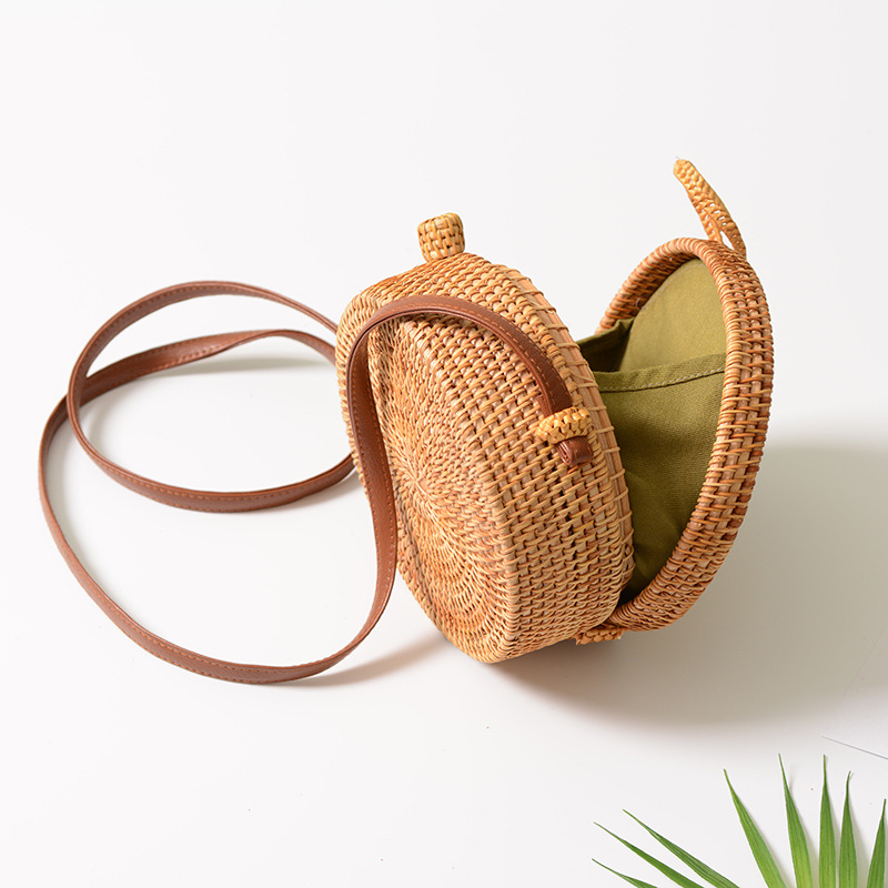 18 Round Straw Bags Women Summer Rattan Bag Handmade Woven Beach Cross Body Bag Circle Bohemia Handbag Bali 16