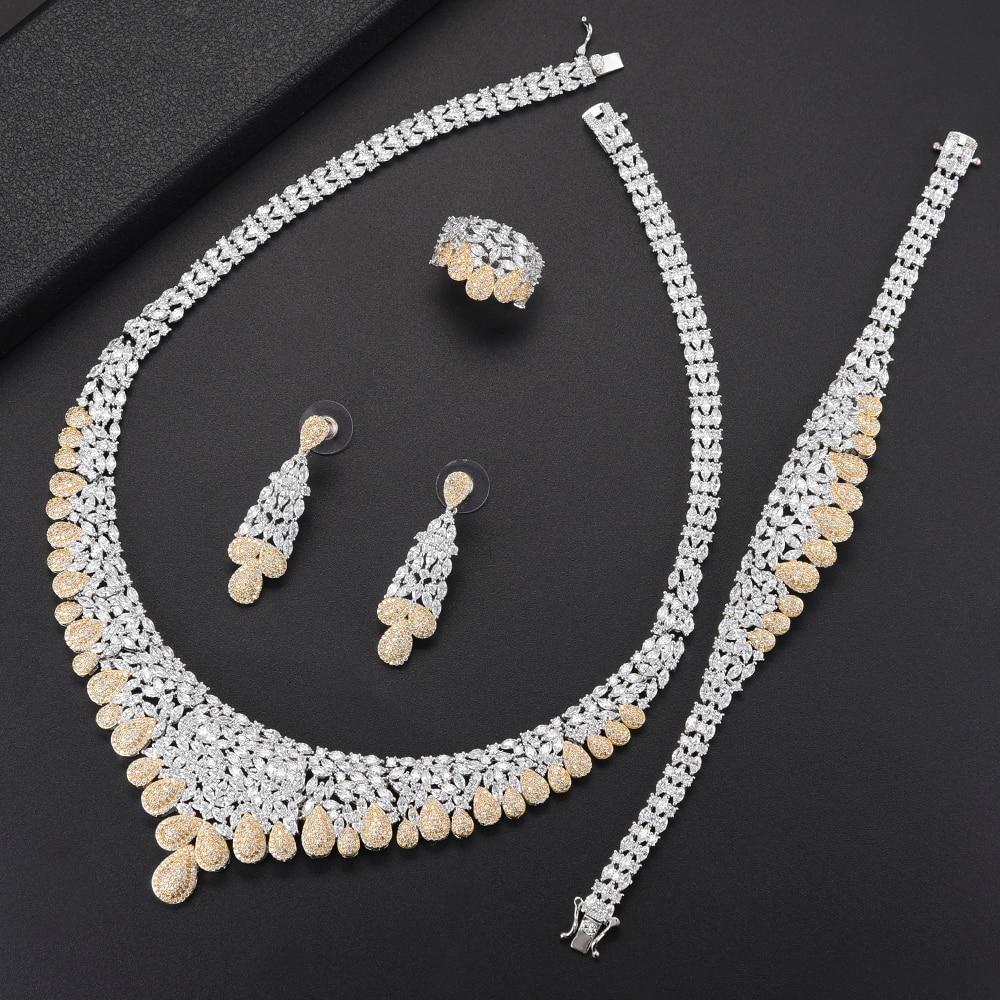 4PCS Fashion Women Wedding Jewelry Sets Teardrop Shape Big Choker CZ Necklace Earrings Bracelet Ring Jewelry Sets For Bride yfjewe silver necklace earrings and bracelet sets crystal ring jewelry for women jewelry sets bride wedding collar n087