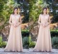 Blush Rosa Plus Size Mãe Dos Vestidos de Noiva Elegante mulheres Chiffon Vestidos Longos de Noite Com Flor Vestido De Madrinha 2016
