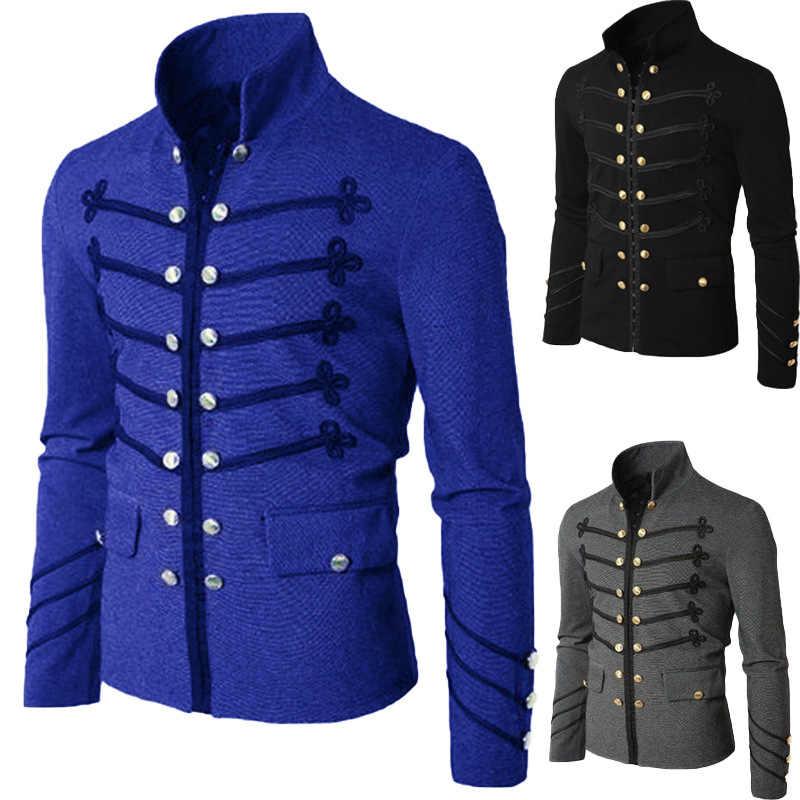 Adulto homem purim estilo gótico vitoriano jaqueta com zíper cristão medieval cavaleiro casaco sólida idade média masculino carnaval roupas 3xl