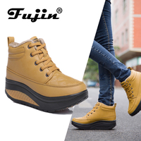 Fujin Women Ankle Boots Short Plush Fur Keep Warm Boots Female Shoes Lace Up Pu Leather Comfortable Booties for Women Shoes