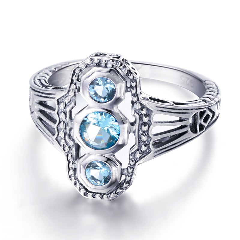 Real 925 Sterling Silver Cocktail Rings Women Handmade Vintage Hollow Created Aquamarine Stone CZ Finger Ring Lady Fine Jewelry