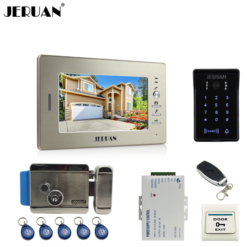 JERUAN 7 inch TFTvideo door phone intercom system RFID new waterproof touch key password keypad camera +remote control unlock jeruan 8 inch tft video door phone record intercom system new rfid waterproof touch key password keypad camera 8g sd card e lock