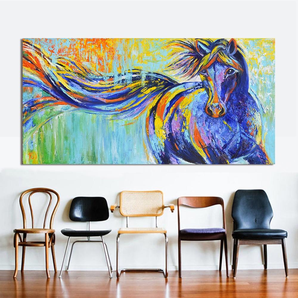 HDARTISAN Wandkunst Leinwand Tier Malerei Bunte Laufende Pferd Bild ...