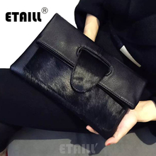 High Quality Leopard Horsehair 2018 Famous Brand Women Real Leather Designer Day Clutches Messenger Bag Crossbody Envelope Bags