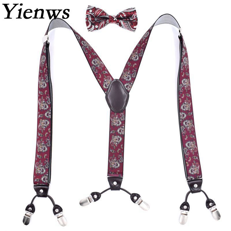 Yienws Bretele Mens Suspenders And Bow Tie Cashew Flowers Leather Suspender Mans Braces For Trousers 125cm Bretels Mannen YiA006