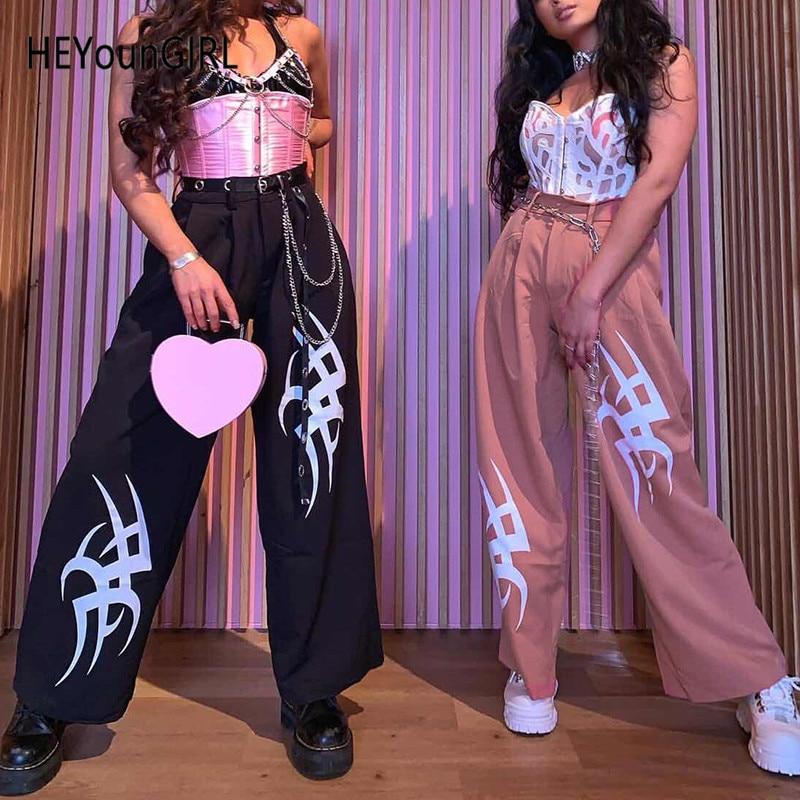 HEYounGIRL Harajuku High Waist   Wide     Leg     Pants   Women Black Printed Casual Ladies Trousers Pink Punk Sweatpants Streetwear Summer