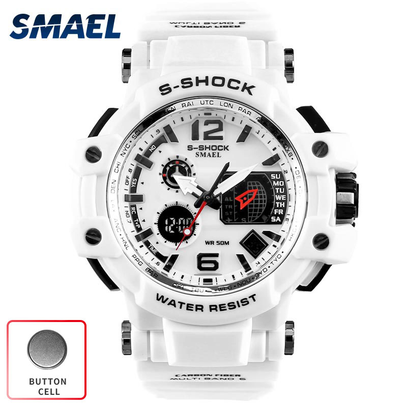 SMAEL Sport Watch Men waterproof White S Shock Watches Man relogio masculino 2017 military army Clock