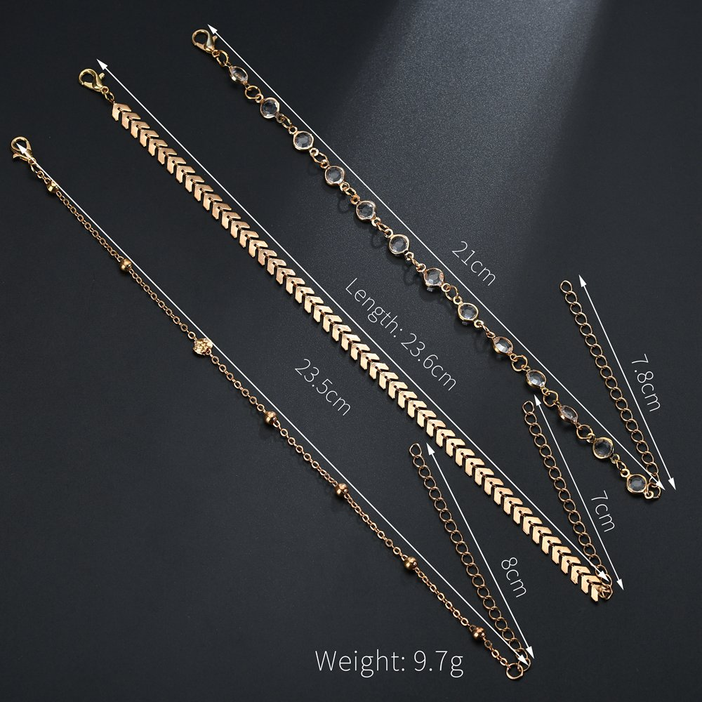 MissCyCy Fashion Crystal Anklet Set Vintage Handmade Ankle Bracelet for Women Party Summer Beach Accessories 3Pcs/Set 3