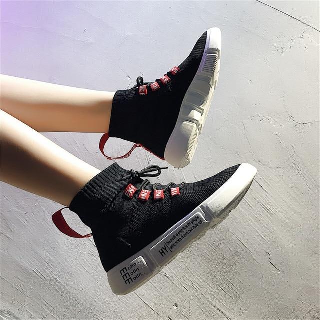 Женская Повседневная обувь стрейч носок модные ботинки дышащие летние/осенние кроссовки на платформе удобные мягкие женские кроссовки 8h47