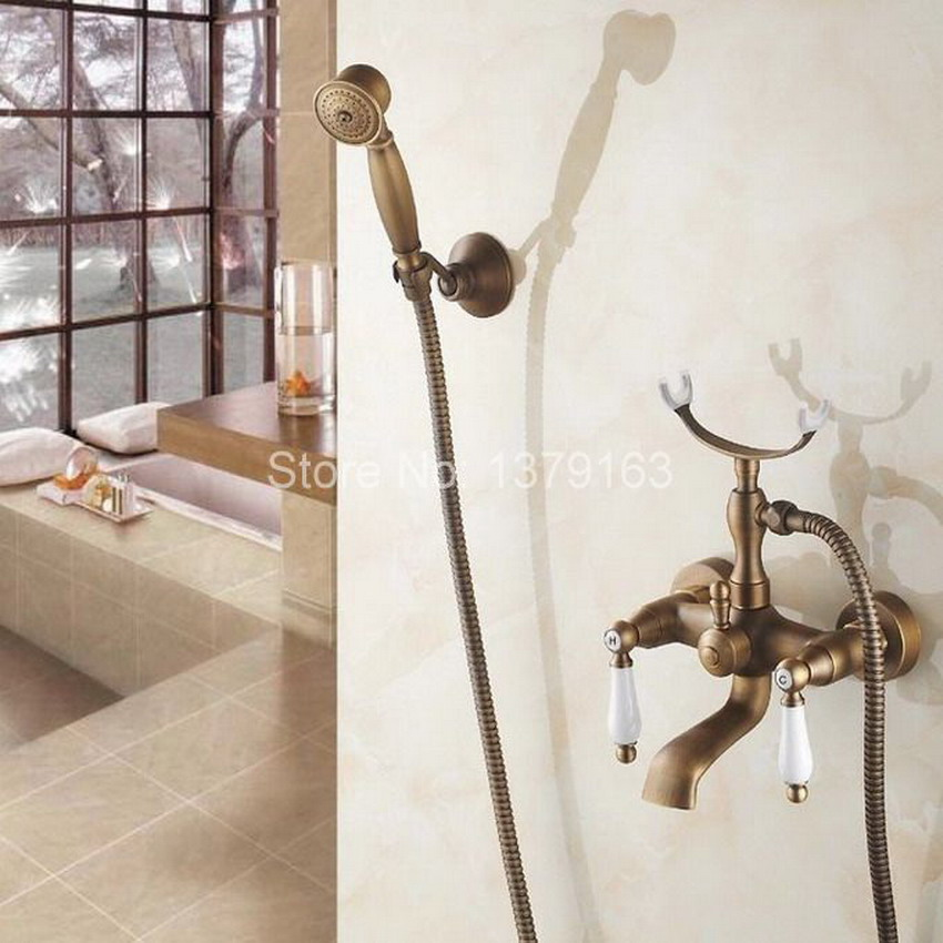 Bathtub Faucet Clawfoot Bath Tub Filler Mixer Tap Set Hand Shower with Bracket Holder Antique Brass Dual Ceramics Handle atf157 polished chrome double cross handles wall mounted bathroom clawfoot bathtub tub faucet mixer tap w hand shower atf902