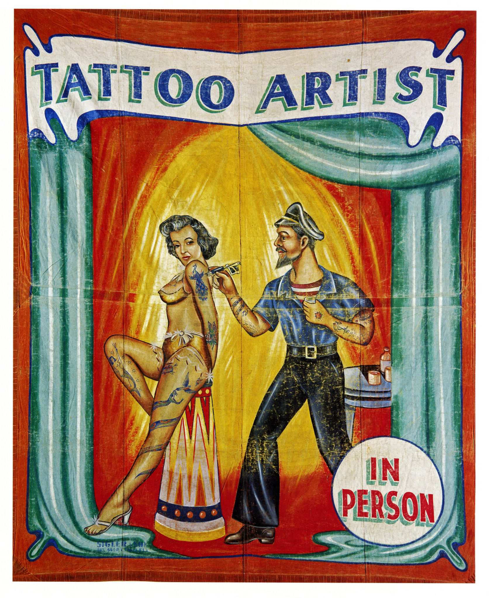 Vintage Circus Posters Tattoo Artist, 1945 Classic Canvas ...