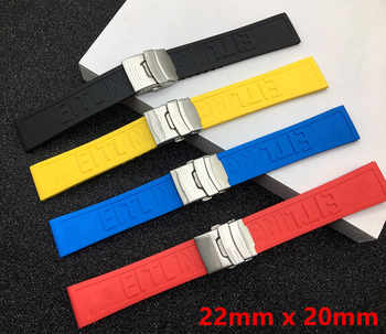 Black Yellow Red Blue Silicone Rubber Watch band 22mm 24mm Watchband Bracelet For navitimer/avenger/Breitling strap logo on - DISCOUNT ITEM  37% OFF Watches