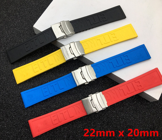 Black Yellow Red Blue Silicone Rubber Watch band 22mm 24mm Watchband Bracelet Fo