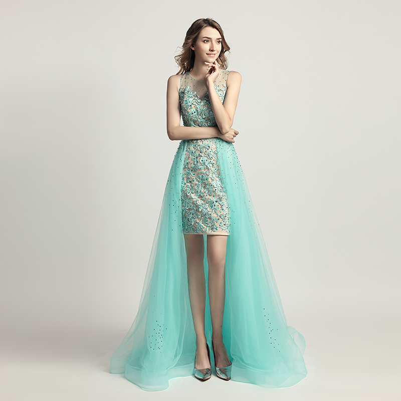 Newest Design Lace Appliques Cocktail Dresses with Beading Illusion Tulle Skirt Light Knee Length Evening Prom Party Gown OL441-in Cocktail Dresses from Weddings & Events    2