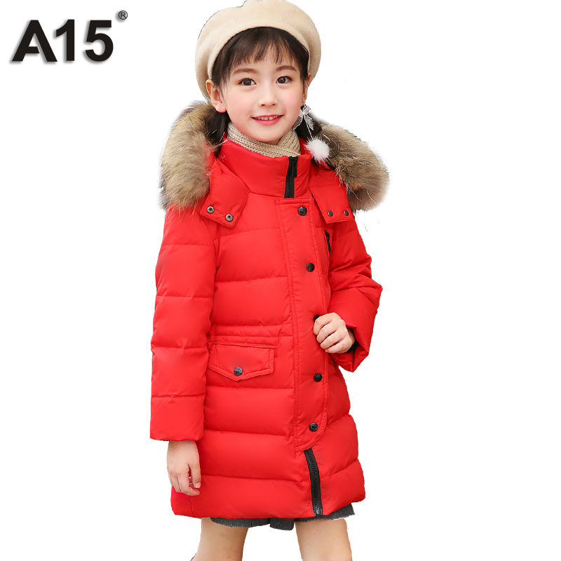 A15 Kids Down Coats and Jackets 2018 Boys Long for Youth Children Teenage Winter Coat Outerwear Girl Thick Warm Fur Hooded Parka a15 girls down jacket 2017 new cold winter thick fur hooded long parkas big girl down jakcet coat teens outerwear overcoat 12 14