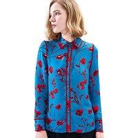 Hodisytian Noble Women Blouse Shirts Floral Mulberry Silk Satin Elegant Slim Fit Female Tops Blouse Long Sleeve Blusas Femme