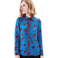 Hodisytian Noble Women Blouse Shirts Floral Mulberry Silk Satin Elegant Slim Fit Female Tops Blouse Long Sleeve Blusas Femme