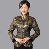 Yüksek Kalite Kadın Bahar Ceket Klasik Çin Tarzı Lady Ipek Saten Ceket Çiçekler Mujer Chaqueta Boyutu Sml XL XXL XXXL Mny04-C