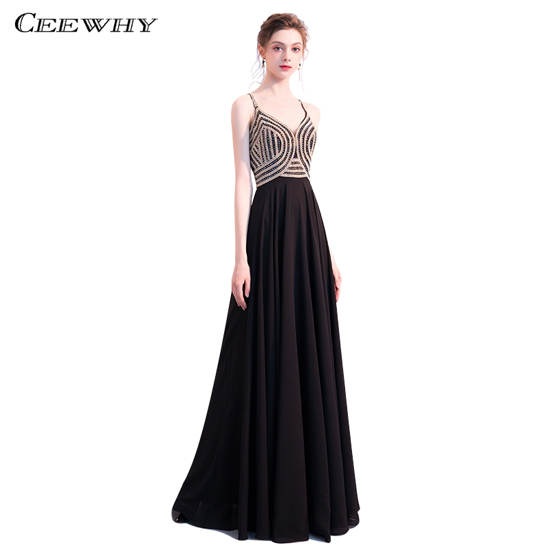 CEEWHY Open Back Sexy Evening Dress Spaghetti Straps Vestido de Festa Longo Long Dresses Evening Gown Evening Dresses Beaded