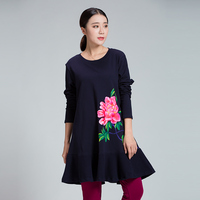 2017Autumn winter Women Chinese style Hand Painted long t shirt Plus Size loose fit pure cotton Ruffled tees Plus size XL XXXXXL