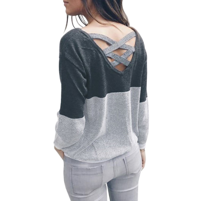 Women Patchwork Hollow Out Knitted Sweater Pullover Backless Long Sleeve Two Side Wear Autumn Winter Plus Size