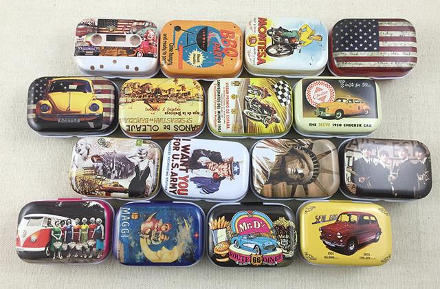 16 pcs/lot Style américain Vintage Mini boîte en fer blanc boîtes de rangement bijoux faveur de mariage boîte à bonbons accessoires livraison gratuite
