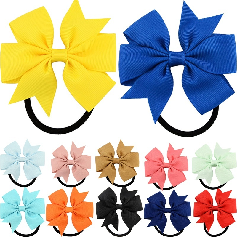 1PC Hot Girl Boutique Ribbon Bow Elastic Hair Tie Rope Hair Band Bows With Kids Hair Ponytail Hair Accessories